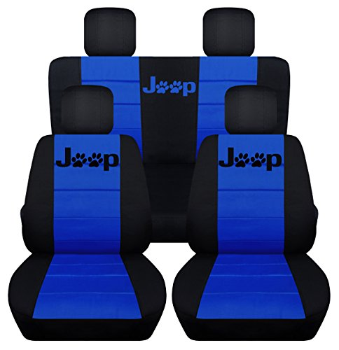 Designcovers Front and Rear 2005 to 2007 Jeep Liberty Jeep Paw Print Seat Covers 40-60 Rear (Front Separate Headrest, Black Dark Blue)