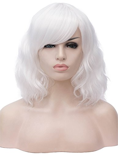 TopWigy White Cosplay Wig Medium Length Side Part Bang Curly Body Wave Colorful Synthetic Hair Wigs Costume Party Bob Women Full Wig (White 14
