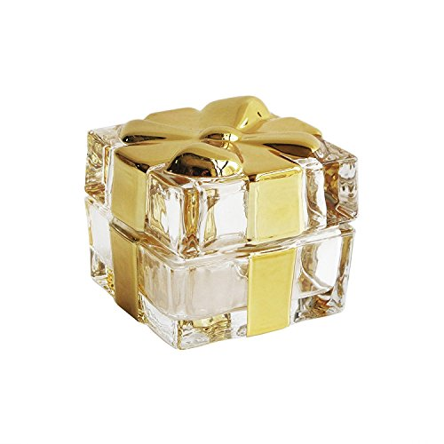 Fitz and Floyd Glass Gold Bow Trinket Box