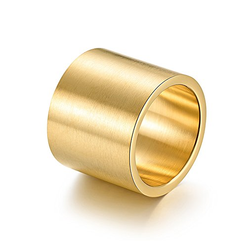 Circle Polished Full (JAJAFOOK Mens Womens 19mm Wide Black/Gold/Silver Ring Big Cool Band Full Circle Matte Finish Flat Top Rings)