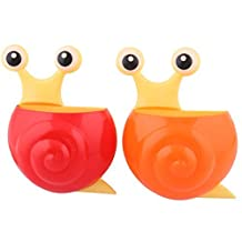 DealMux Plastic Home Bathroom Snail Shaped Suction Cup Toothbrush Holder Rack 2 Pcs