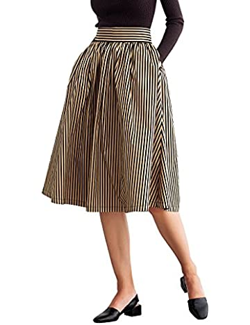 Simple Retro Women's 50s Pleated Vintage High Waist A-line Midi ...