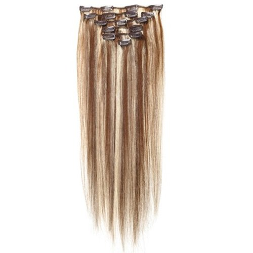 SODIAL(R) #4/613 Gold Straight Full Head Clip in Human Hair Extensions Hair 38cm/15