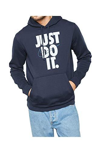Nike Mens Just Do It Pullover Hoodie Fleece Sweatshirt Navy Blue/White 928717-451 Size Large