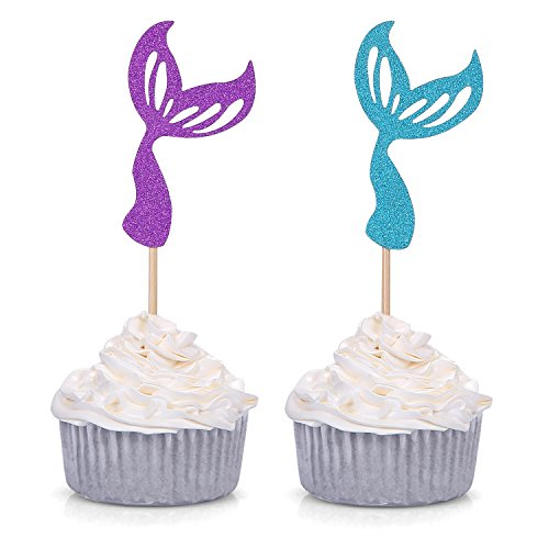 Giuffi Set of 24 Glitter Purple/Blue Mermaid Tail Cupcake Toppers Kids Theme Party Decor