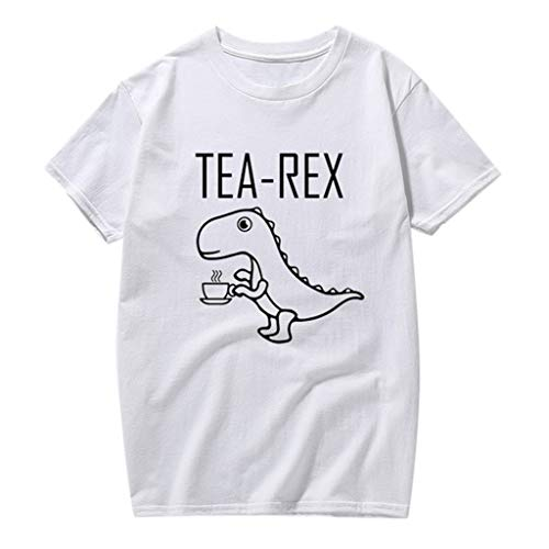 Mens Summer Fashion Casual Dinosaur Print T-Shirt Solid Color Short Sleeve Blouse White -