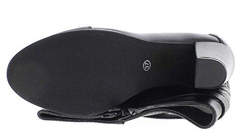 ChaussMoi Botas Negro Lleno de Mujeres con Cuero Sintético de 9 cm de Tacón Grueso y Acolchado de La Barra