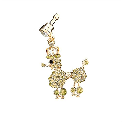 S&C Bling Rhinestone Crown Poodle Crystal Anti-dust Plug Headphone Jack Plug For iPhone iPad iPod Samsung Galaxy Series Of 3.5mm Ear Jack - Yellow