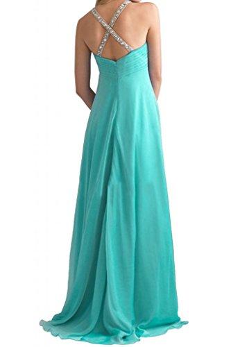 Toscana novia glamour Rueckenfrei la gasa largo por la noche vestidos de cristal bola al Prom vestidos Jaeger Gruen