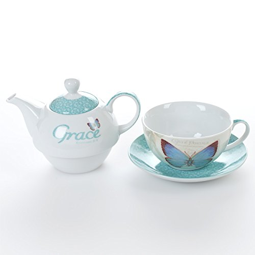 Botanic Butterfly Blessings ''Grace'' Tea-for-One Set by Christian Art Gifts (Image #3)
