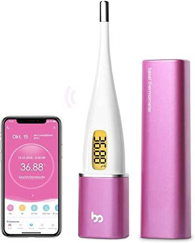 Femometer Vinca II-Basalthermometer Bluetooth zur zykluskontrolle, mit Intelligentes APP (iOS & Android) für Eisprung & Zykluskontrolle, Digital beleuchtet Fruchtbarkeitsthermometer für NFP (Lila)