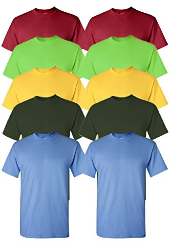 Gildan Men's Classic Heavy Cotton T-Shirt, Assorted Colors, L (Pack of 10)