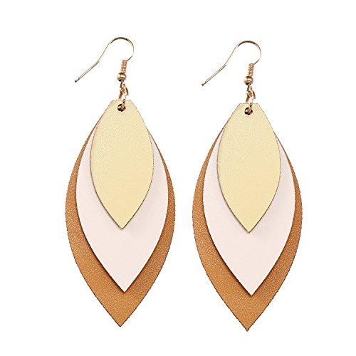 TIDOO Jewelry Women Three Layers Leather Drop Earring (8# Beige+Light - Leather Brown Beige