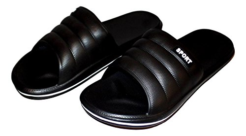 101 BEACH Mens Sport Slide Water Slipper Shoes Black / White