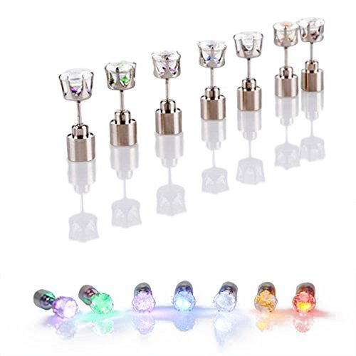 AYAMAYA 3 Pairs Changing Color Christmas Light Up LED Earrings Studs Flashing Blinking Earrings Dance Party Accessories unisex for Men Women