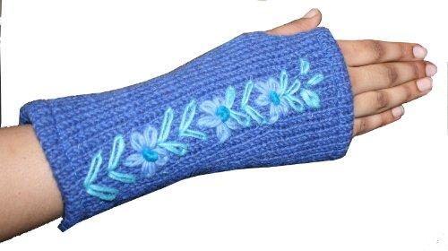 308 HW Wool Knitted Hand Warmer Fingerless Mitten (One Size, Blue)