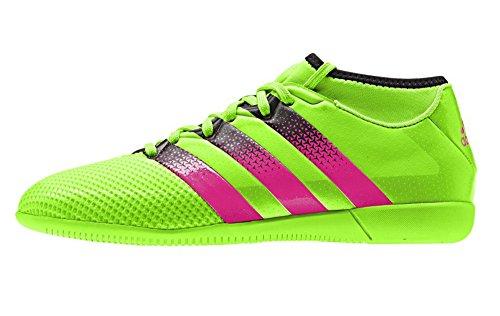 adidas Performance Ace 16.3 Primemesh IN J Soccer Shoe (Little Kid/Big Kid),Green/Shock Pink/Black,10.5 M US Little Kid