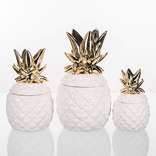 Pineapple Gold Tone 11 x 6 Dolomite Ceramic Organization Canisters Set of - Pineapple Kitchen Canister