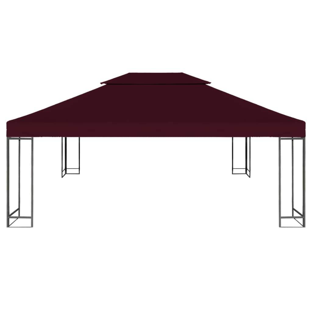 Galapara Copertura per Gazebo Impermeabile Gazebo 310g   m² 4x3m Grigio Talpa Bordeaux- Materiale Idrorepellente Tessuto e Resistente ai Raggi UV