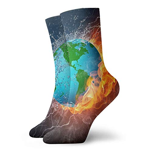 WEEDKEYCAT Fire and Water Globe Adult Short Socks Cotton Cute Socks for Mens Womens Yoga Hiking Cycling Running Soccer Sports
