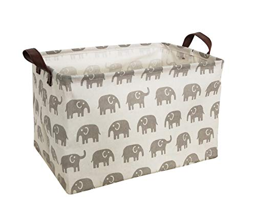 HIYAGON Rectangular Storage Box,Fabric Storage Bin for Organizing Toys,Collapsible Storage Basket for Baby, Kids or Pets,Clothing,Books.Nursery Basket (Grey Elephant)