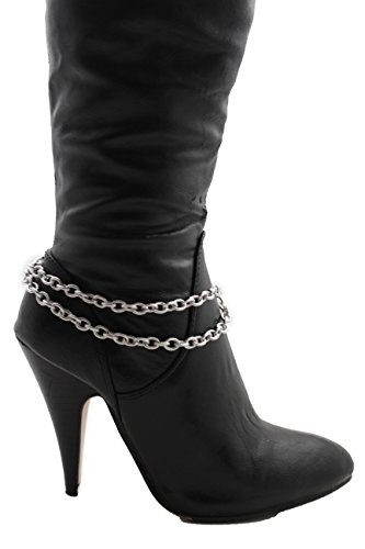 Cm Punk Costume Party City (TFJ Women Western Boot Chains Metal Bling Bracelet Double Strand Links Anklet High Heel Charm Silver)