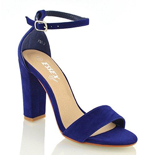 Essex Glam Mujeres Block Heel Correa Para El Tobillo Peeptoe Sandals Navy Faux Suede