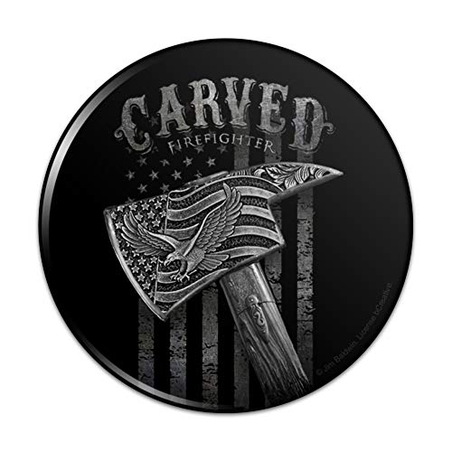 Carved Firefighter American Flag Axe Pinback Button Pin Badge - 3