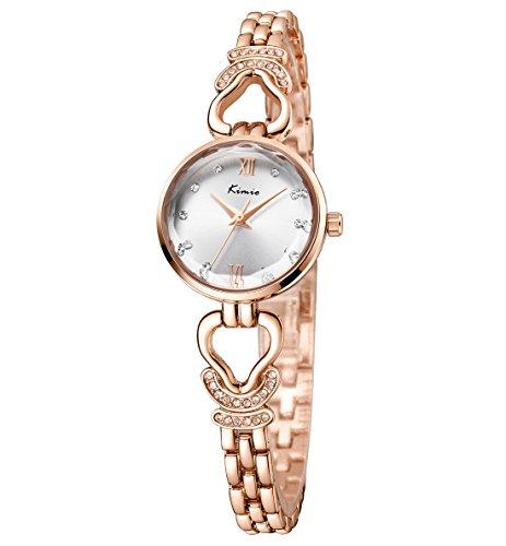 Womens Rose Gold Bracelet Watches Ladies Luxury Rhinestone Analog Quartz Fashion Dress Wrist Watches (CH210) (Wrist Watch Rhinestone Ladies)