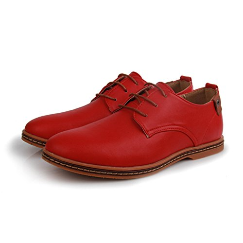 Meetloveyou Men Leather Shoes Fashion Casual Lace-Up Mans Footwear Patent Leather Oxford Shoes Sapato Plus Size Men Shoes Red (Dark Grey Patent Footwear)