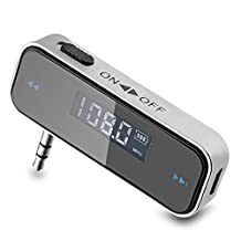 Peyou® - Wireless Car Audio FM Transmitter w/ Car Charger Adapter for All iPhone iPod iPad MP3 Samsung HTC Smartphones Cell Phones - Foldable 3.5mm Plug Design Support Hands-Free