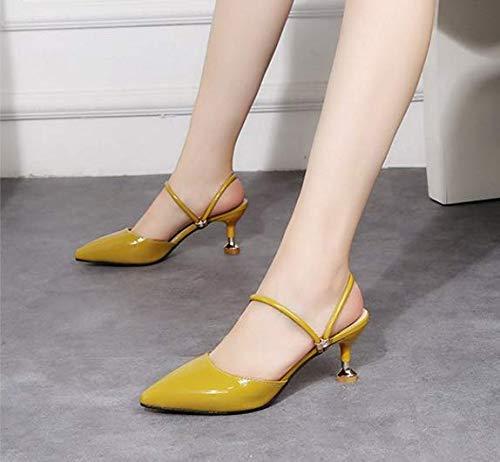 sandali qui va bene 37 i tacchi baotou alti tacchi secondo KOKQSX 7cm giallo dEqIZw5T