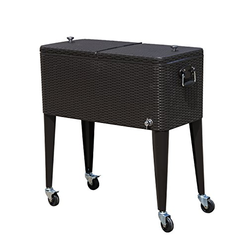 Outsunny 80 QT Rolling Ice Chest Portable Patio Party Drink Cooler Cart - Dark - Bro Dark