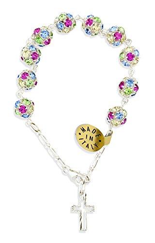 Sterling Swarovski Rosary Bracelets - Sterling Silver Rosary Bracelet with Swarovski Crystals (8mm)