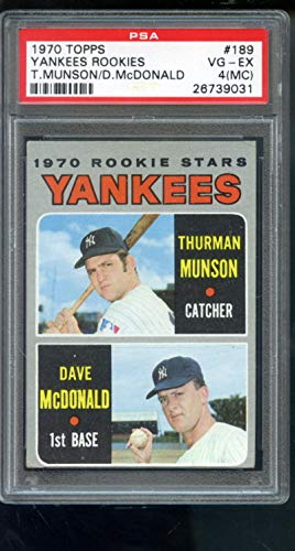 1970 Topps #189 Thurman Munson Dave McDonald Rookie Yankees Stars Rookies PSA 4 (MC) Graded Card
