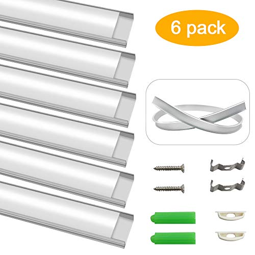 (inShareplus Bendable LED Aluminum Channel System, U Shape, Silver Color, with Milk White Cover, End Caps and Mounting Clips, Aluminum Profile for LED Strip Light Installation, 3.3ft/1M, 6)