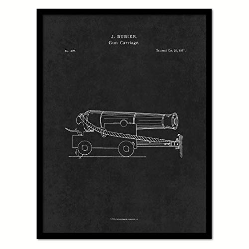 (1837 Gun Carriage US Patent Canvas Print, Art, Vintage, Modern, Urban, Wall Decor, Accents, Home Decor, Business, Accents, Ready to Hang, Black Frame, 13