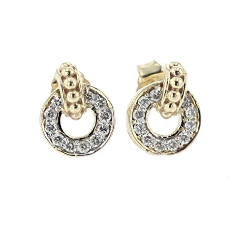 14K Gold Diamond Earrings for Women Round Circle Drop Style 1/4ctw Diamonds 10.5mm - Style Pave Tiffany
