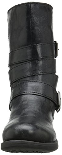Black Rampage Motorcycle Calf Islet Women's Buckle Low heel Boot Mid BABOTqxpw