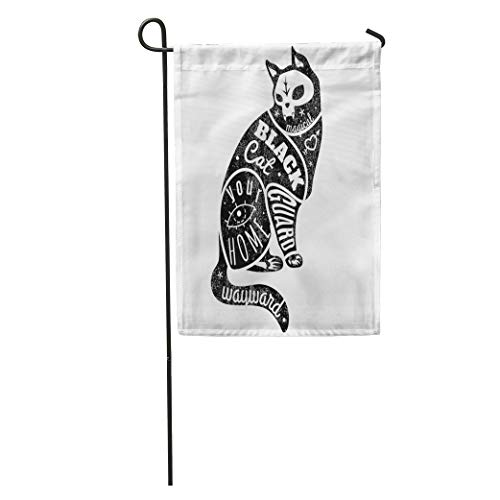 Semtomn Garden Flag Gothic Cat Black Halloween Skull Animal Beautiful Creative Creativity Dark Home Yard House Decor Barnner Outdoor Stand 12x18 Inches Flag ()