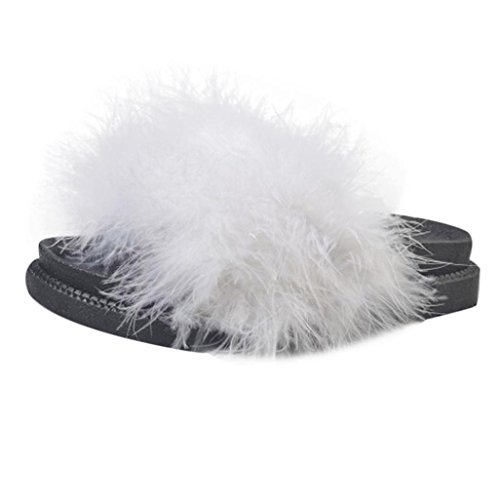 0c1ca2bd1005 Kimanli Womens Slip On Sliders Fluffy Rabbit Fur Flat Slipper Flip Flop  Sandal outlet