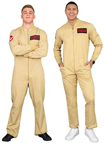 Mad Engine Ghostbusters Adult Costume Zip up Jumpsuit with 4 Interchangeable Patches (L)]()