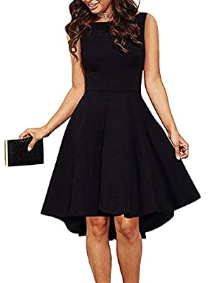 ReoRia Womens Scoop Neck Short Sleeve High Low Cocktail Skater Dress