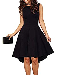 164a15aa9c4a Women Sleeveless Boat Neck High Low Cocktail Skater Swing Dress