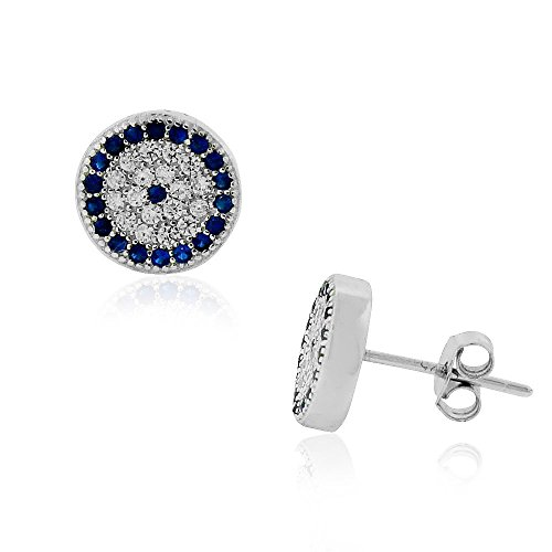 (925 Sterling Silver Evil Eye Protection Clear Blue CZ Stud Earrings)