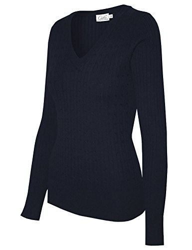 Ladies V-neck Cable - Cielo Women's Basic Solid Stretch V-neck Cable Knit Pullover Sweater Navy L