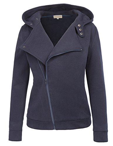 Polished Cotton Blazer (Long Sleeve Casual Jacket Open Sweater-Shirt Outerwear Hoodies Pockets (L,Navy))