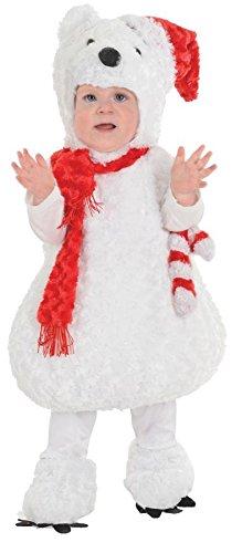 Polar Bear Baby Halloween Costume (Underwraps Baby Christmas Polar Bear Costume, White/Red, Medium)