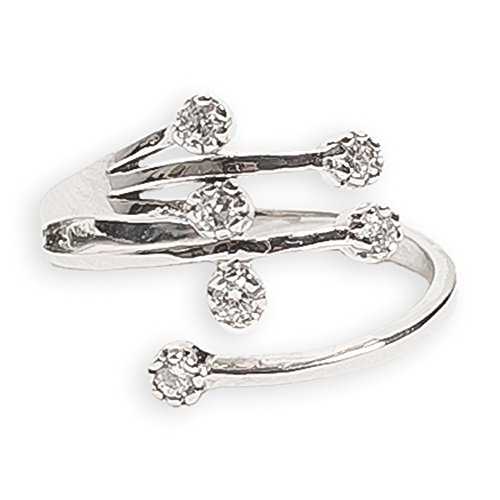 (Toe Ring | Dazzle .925 Sterling Silver & Cubic Zirconia | Adjustable Ring for Foot Or Midi for Women, Girls, Or Men)