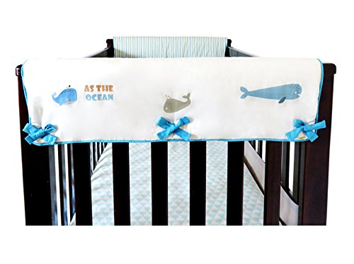 2 Piece 100% Cotton Side Crib Rail Guard Cover/Wrap 29.5'' x 17.5'' for Your Teething Baby,Padding,Cute, Reversible, Machine Washable, Fits Most Standard Narrow & Modern Wide Crib Rails by KAI&HIRO (Image #3)